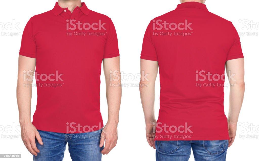 T-shirt-Design - Mann in leere leichten roten Poloshirt isoliert – Foto
