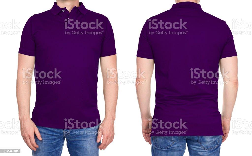 b468cef231 Design de t-shirt - homem branco camisa de polo roxa isolada foto royalty-