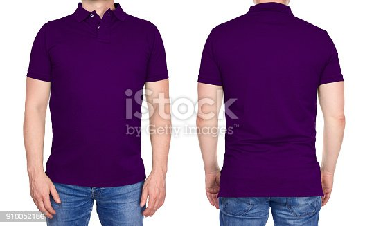 istock T-shirt design - man in blank purple polo shirt isolated 910052186