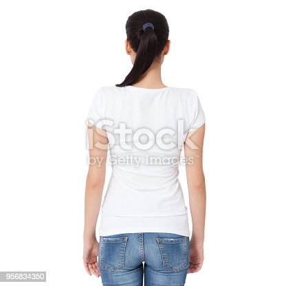 istock T-shirt design, people concept - closeup of young woman in blank white shirt, rear isolated. Mockup square. 956834350