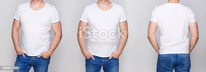 956902000 istock photo T-shirt design - young man in blank white tshirt front 956901990