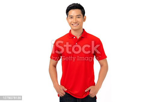 T-shirt design, Young man in Red shirt isolated on white background