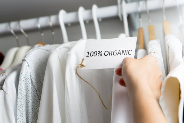 t-shirt made of 100% and hundred percent organic materials. customer with responsible and nature and eco friendly values looking for clothes in store or shop. holding label and price tag with text. - organic stock pictures, royalty-free photos & images