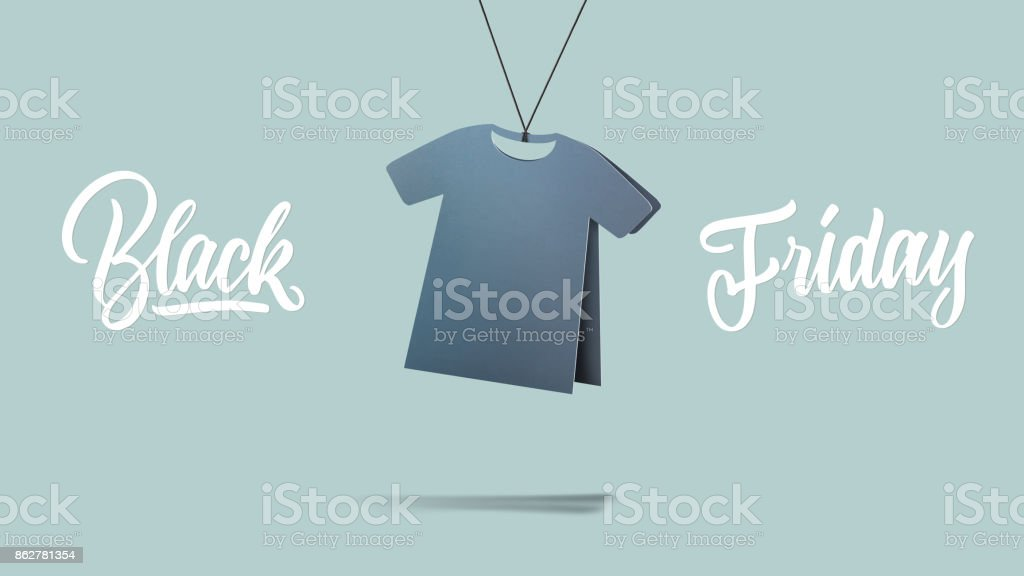 t-shirt made of cardboard. black friday and sales concept stock photo