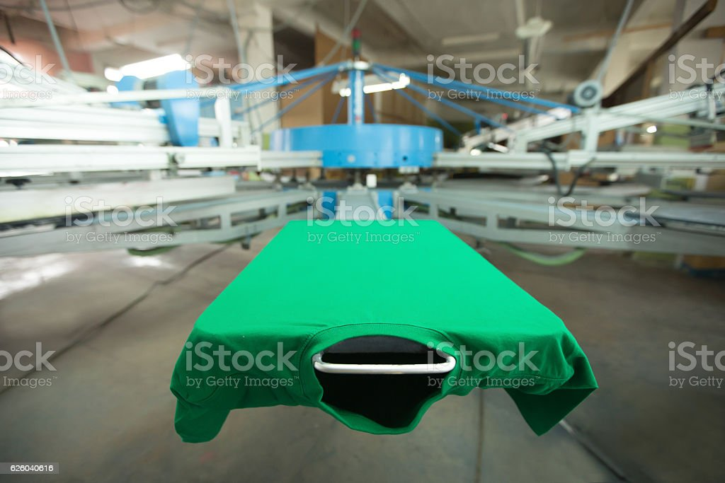 T-shirt silk screen printing machine stock photo