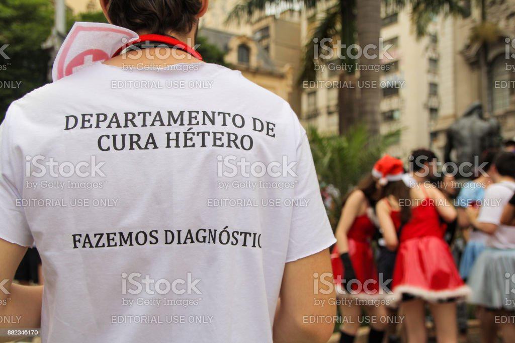 T-shirt with protes about 'Gay Cure' stock photo