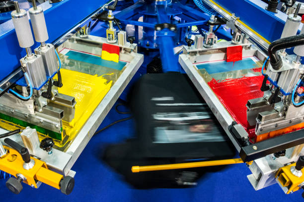 T-shitrs silk screen printing stock photo