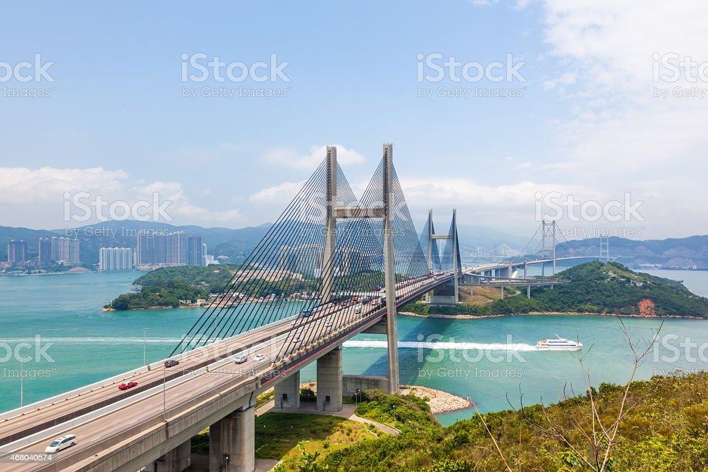 Tsing Ma bridge Hong Kong stock photo