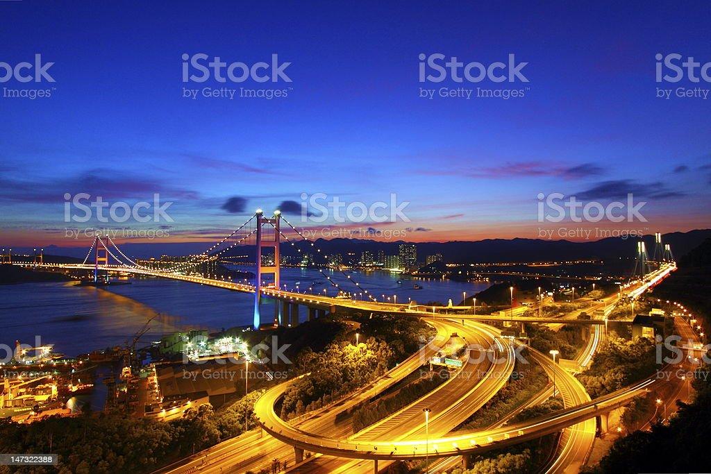Tsing Ma Bridge in Hong Kong at night stock photo