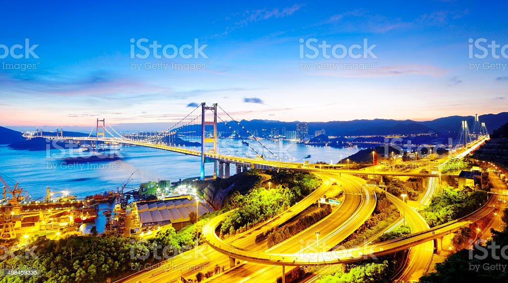 Tsing Ma Bridge in Hong Kong at sunset stock photo