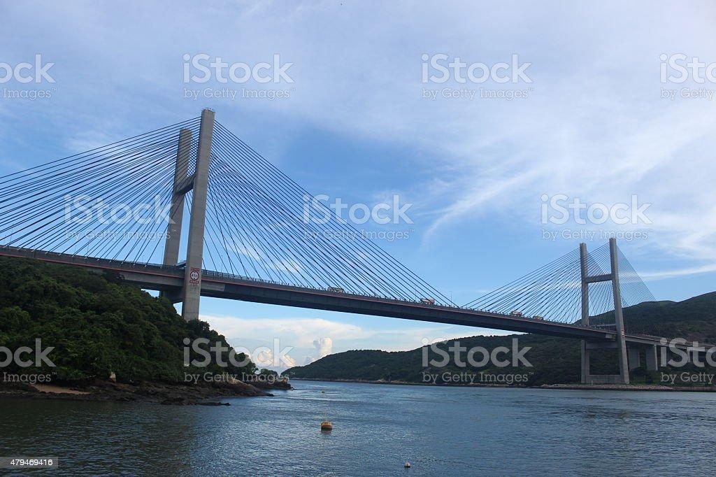 Tsing Ma Bridge, Ma Wan, Hong Kong stock photo