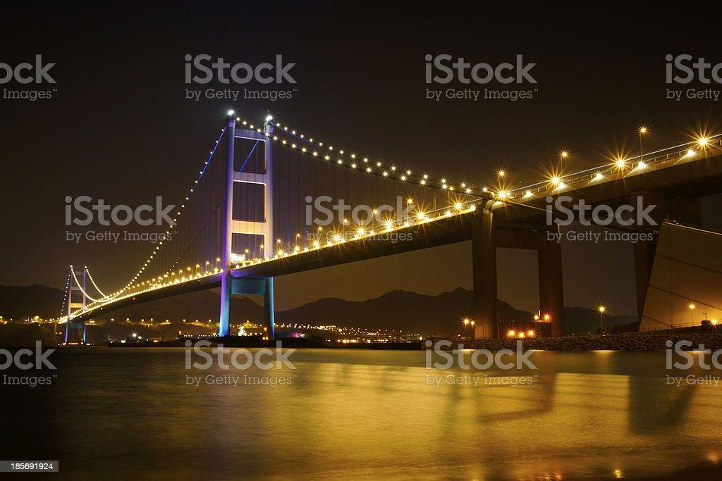 Tsing Ma Bridge night view stock photo