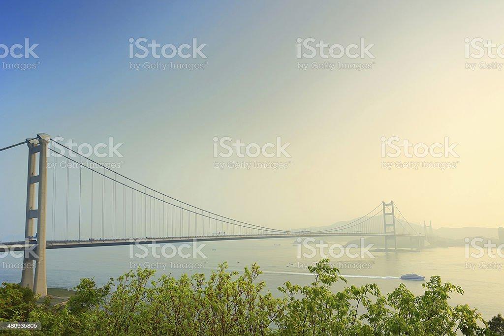 Tsing Ma Bridge of Hong Kong stock photo