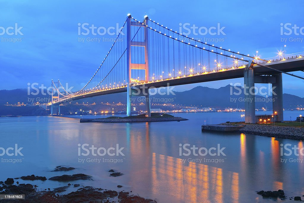 Tsing ma bridge sunset stock photo