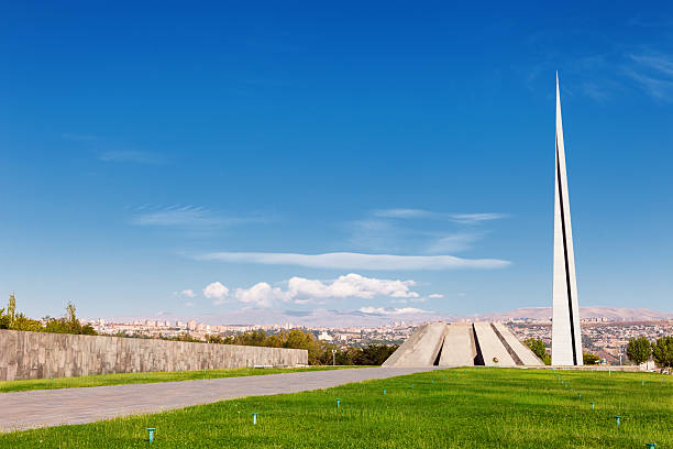 Tsitsernakaberd - Armenian Genocide memorial and museum in Yerevan, Armenia. Yerevan, Armenia - September 26, 2016: Tsitsernakaberd - The Armenian Genocide memorial complex is Armenia official memorial dedicated to the victims of the Armenian Genocide genocide stock pictures, royalty-free photos & images