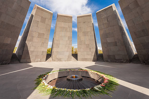 Tsitsernakaberd in Yerevan Inside Tsitsernakaberd - The Armenian Genocide memorial complex, it is Armenia official memorial dedicated to the victims of the Armenian Genocide in Yerevan. armenian ethnicity stock pictures, royalty-free photos & images