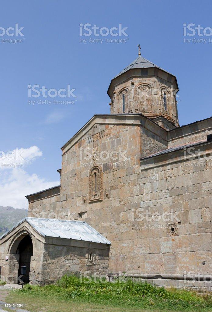 Tsminda Sameba - Holy Trinity Church near the Kazbegi-Gergeti village. stock photo
