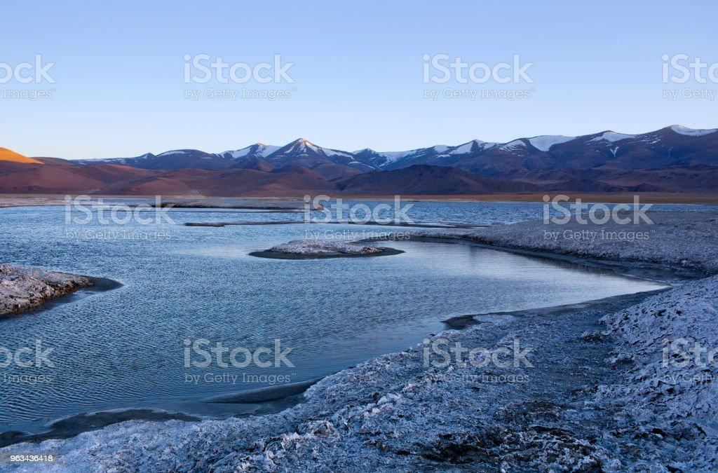 Tso Kar salt water lake in Ladakh, North India. stock photo