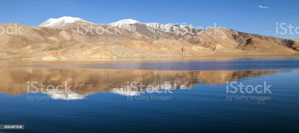 Tso Moriri lake in Rupshu valley stock photo