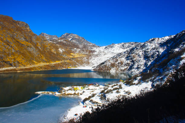 Tsomgo Lake, also known as Tsongmo Lake or Changu Lake, is a glacial lake in the East Sikkim district Tsomgo Lake, also known as Tsongmo Lake or Changu Lake, is a glacial lake in the East Sikkim district glacier lagoon stock pictures, royalty-free photos & images