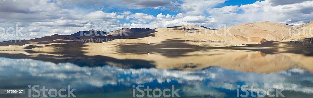 Tsomoriri mountain lake panorama with mountains and blue sky ref stock photo