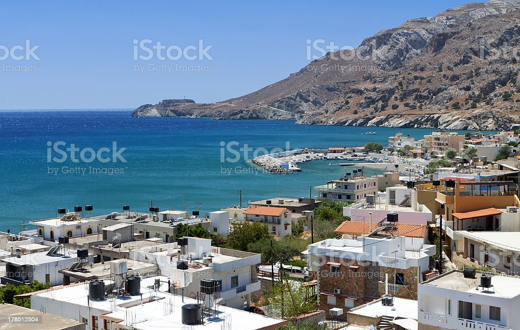 Tsoutsouros summer resort at Crete island in Greece stock photo