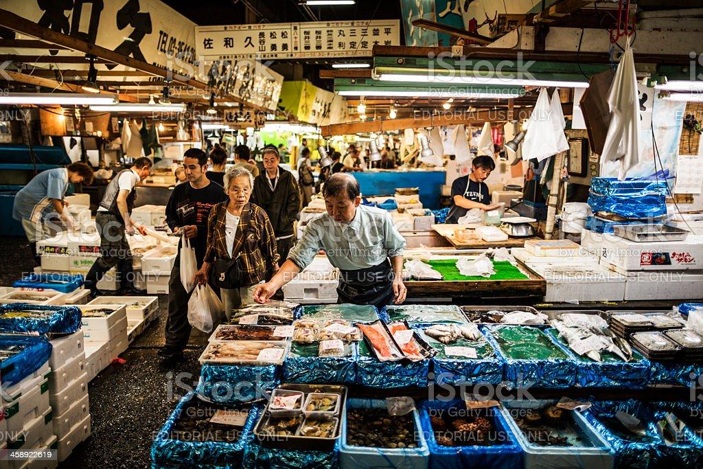 Tsukiji Fish market in Tokyo Japan stock photo