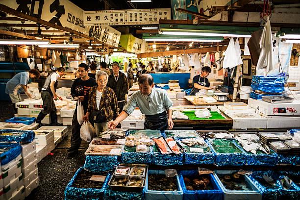 tsukiji fish market in tokyo japan - aluxum stock pictures, royalty-free photos & images