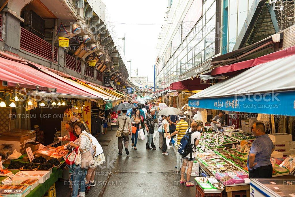 Tsukiji outer market in Tokyo stock photo