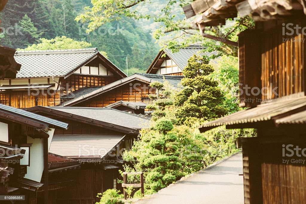 Tsumago a Traditional Japanese Village in the Mountains stock photo