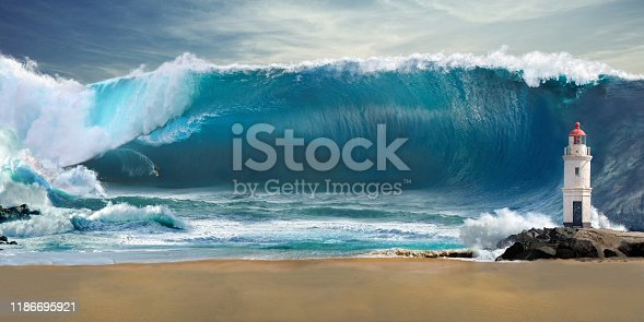Tsunami on the beach with lighthouse and surfer. Beach for surfing.