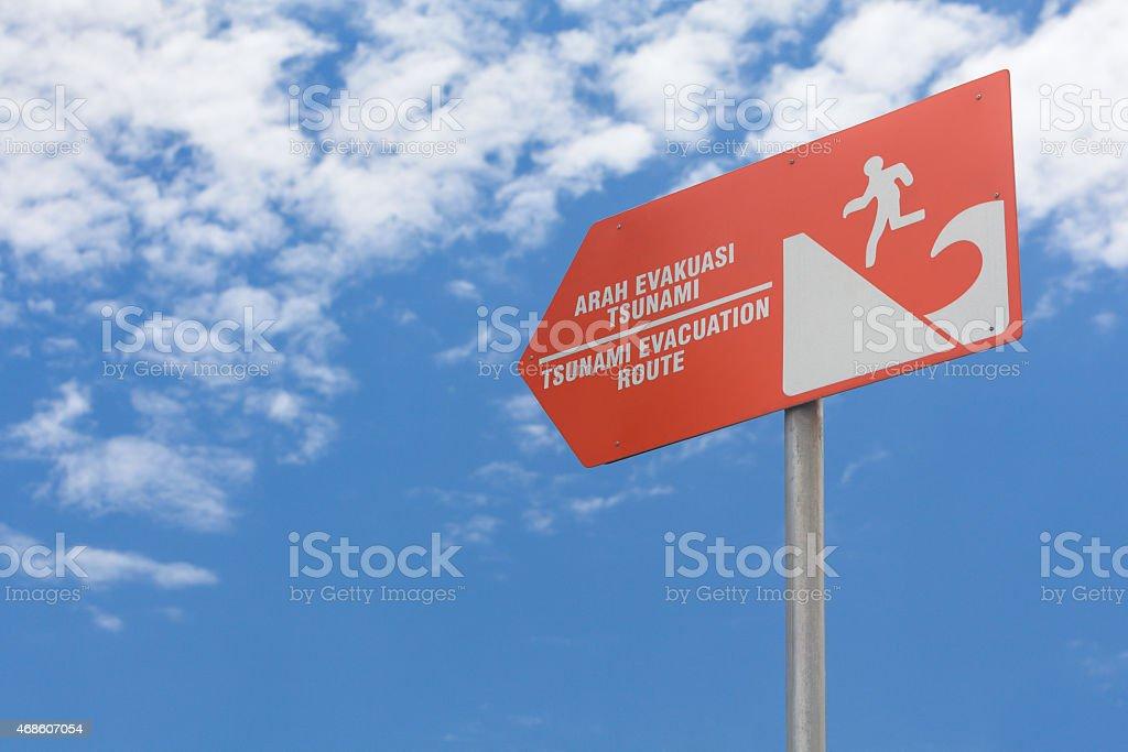 Tsunami evacuation rout sign stock photo