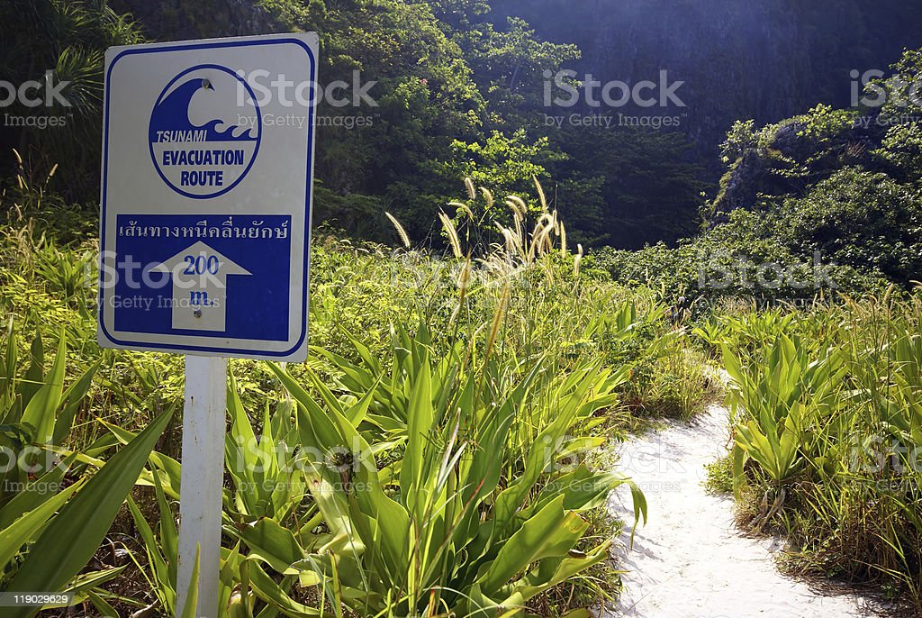 Tsunami evacuation route royalty-free stock photo