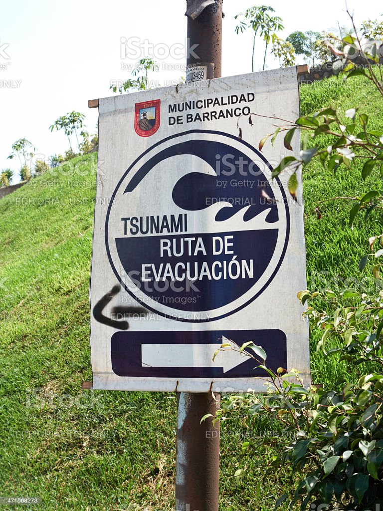 Tsunami evacuation route sign in suburb of Lima royalty-free stock photo