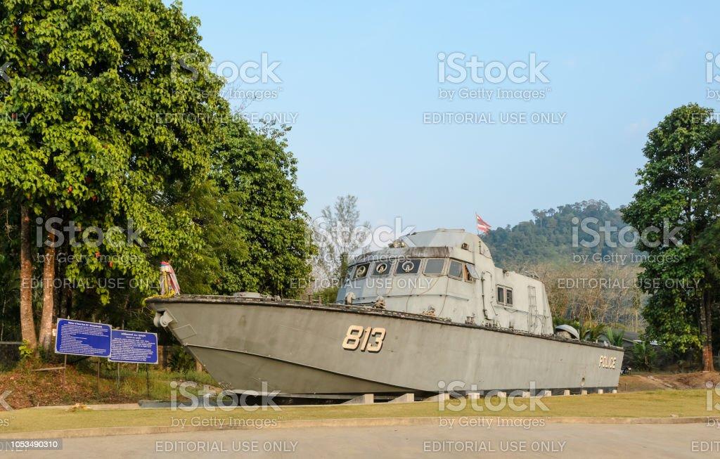 Tsunami Polizeiboot 813 (Buretpadungkit) im International Tsunami Museum in Thailand – Foto