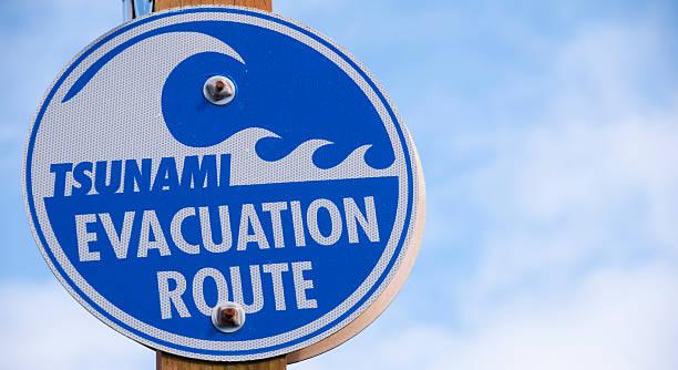 Tsunami Sign stock photo
