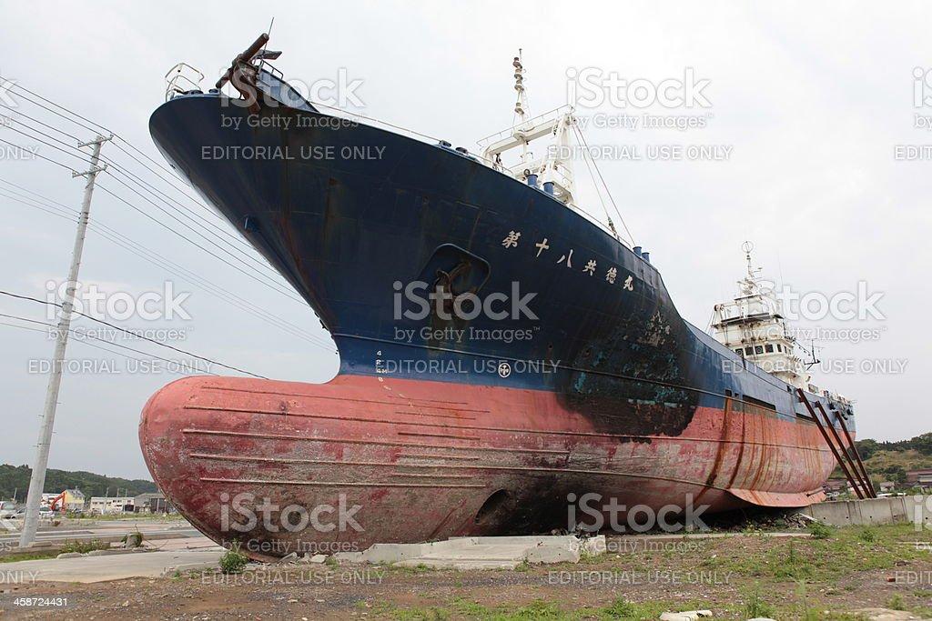 Tsunami stranded ship royalty-free stock photo