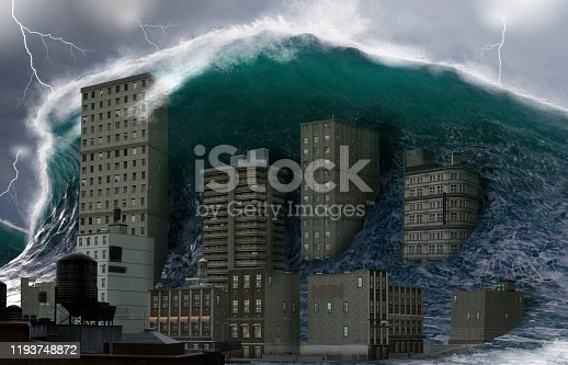 Apocalyptic dramatic scene, a giant tsunami tidal wave crashing a coastal town, natural disaster catastrophe, 3d render