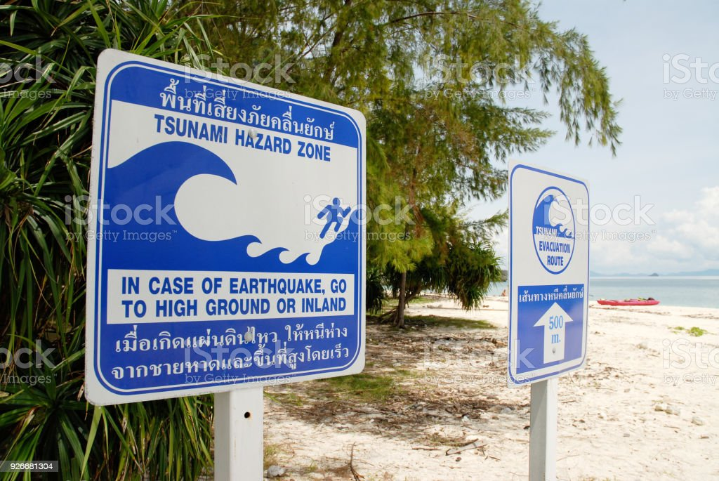 Tsunami Warning Signs Stock Photo - Download Image Now - iStock