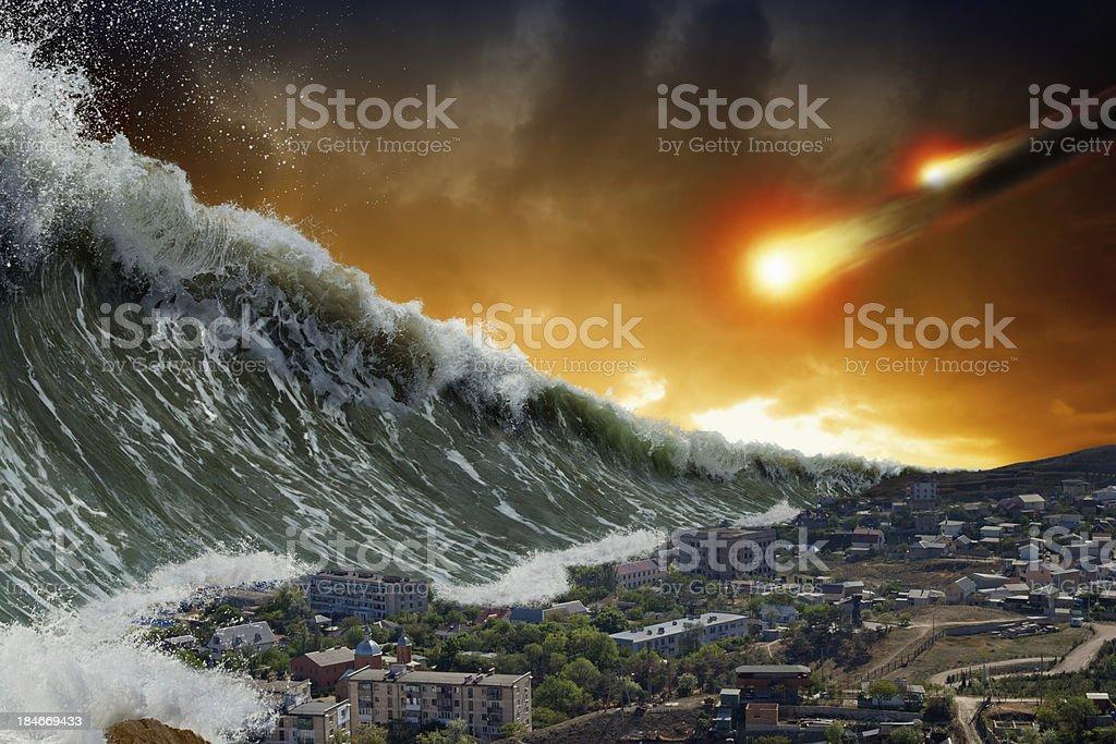 Tsunami waves, asteroid impact stock photo