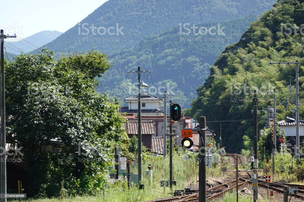 島根山口線津和野駅。 ストックフォト