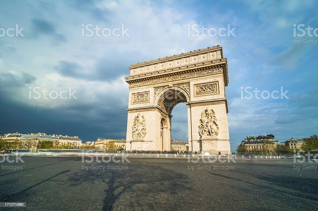 Tthe Arc de Triomphe, Paris stock photo