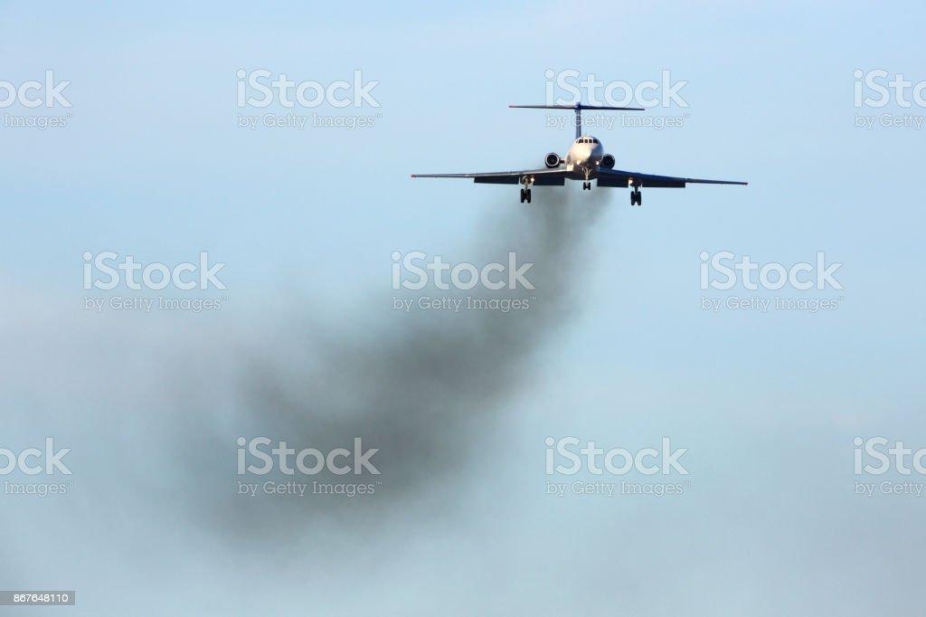 Tu-134 old russian civil airliner landing stock photo