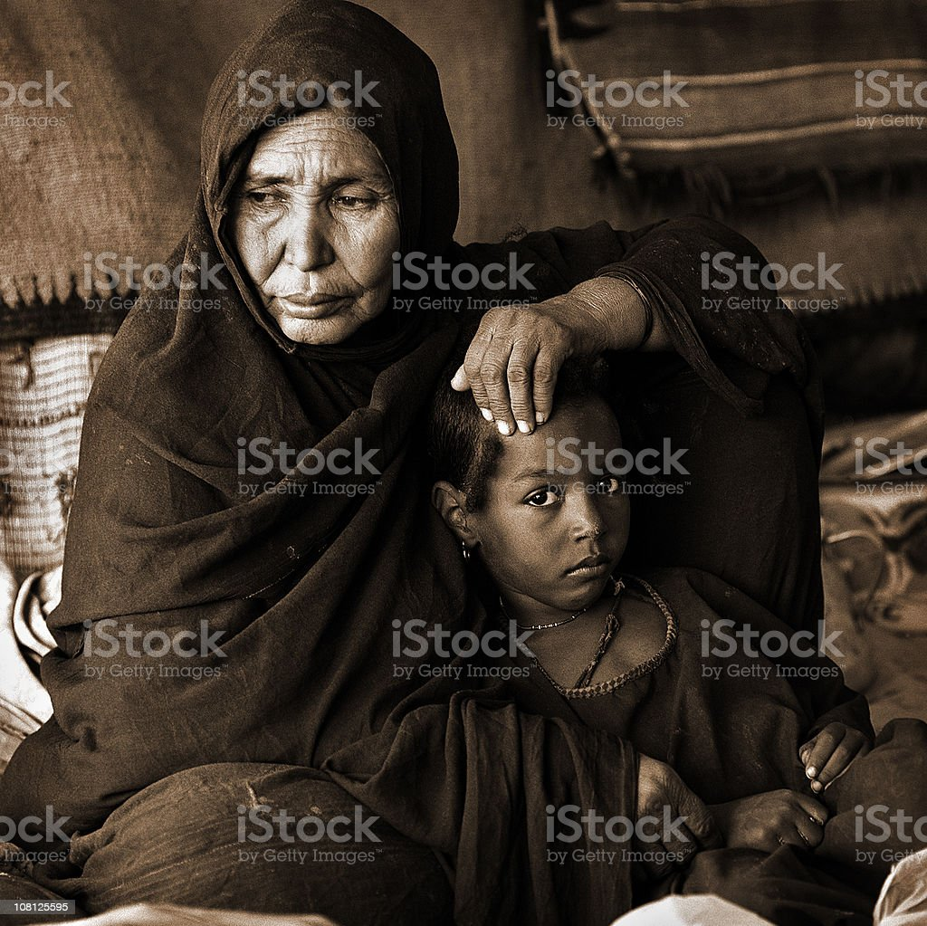 Tuareg mother and daughter royalty-free stock photo