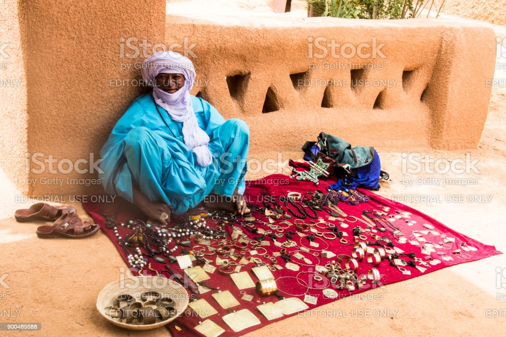 Tuareg trader in Agadez stock photo