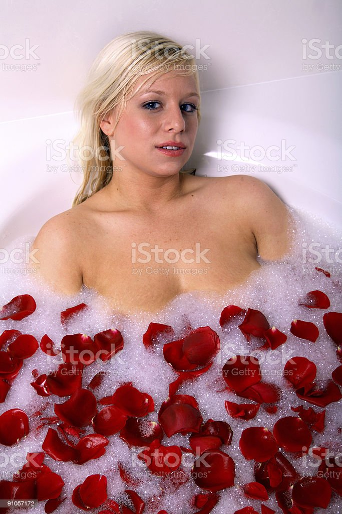 Tub full of petals. royalty-free stock photo