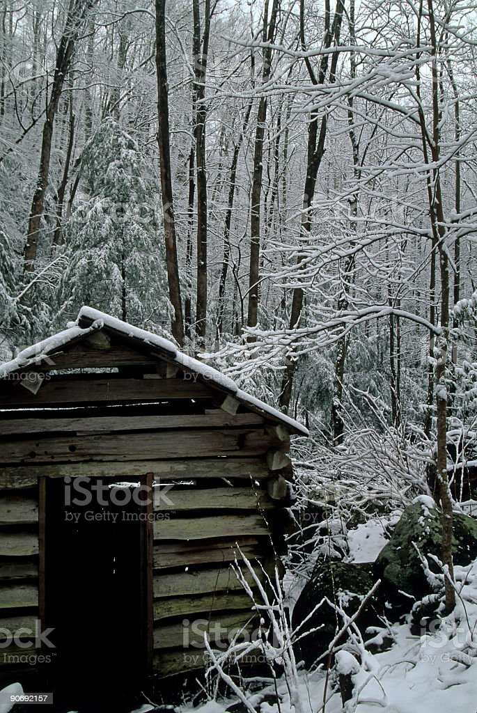 Tub Mill, Snow, Great Smoky Mtns NP, TN stock photo
