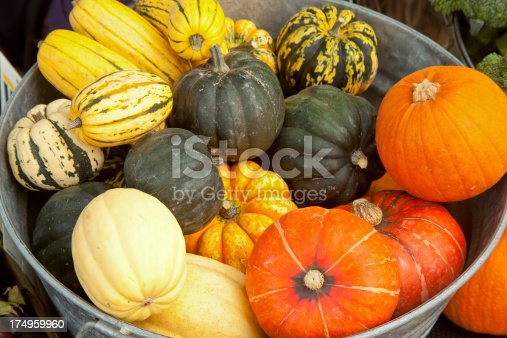 A galvanized steel tub full of a variety of squash at a farmer's market in Washington.