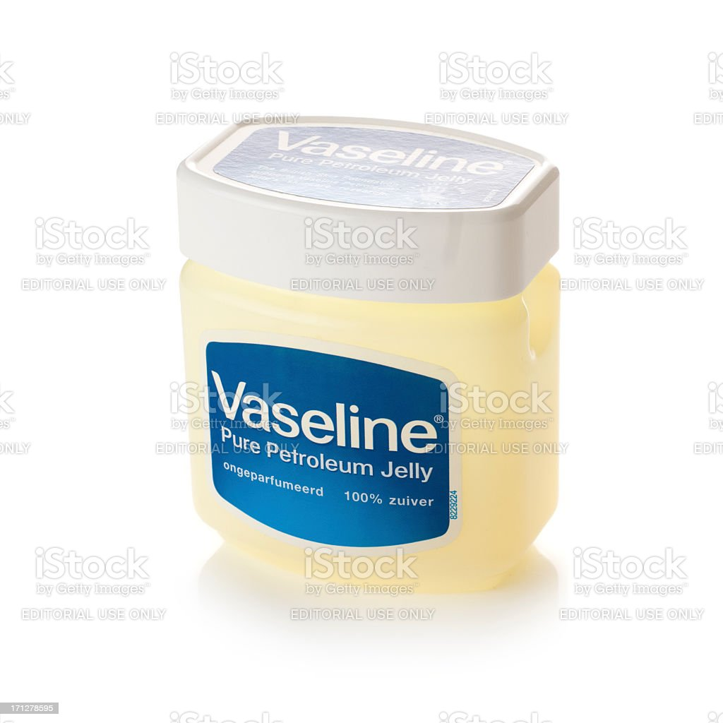 Tub of Vaseline on a white background stock photo