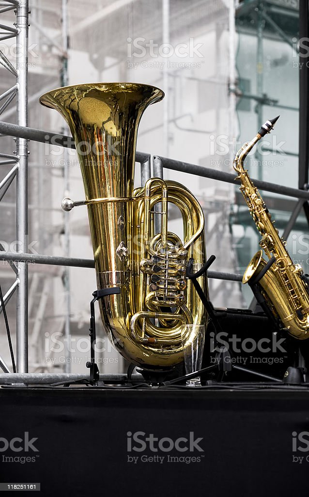 Tuba and Saxophon on the stage royalty-free stock photo